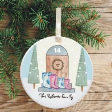 Ceramic Keepsake Boots Christmas Tree Decoration - Family House with Trees Design